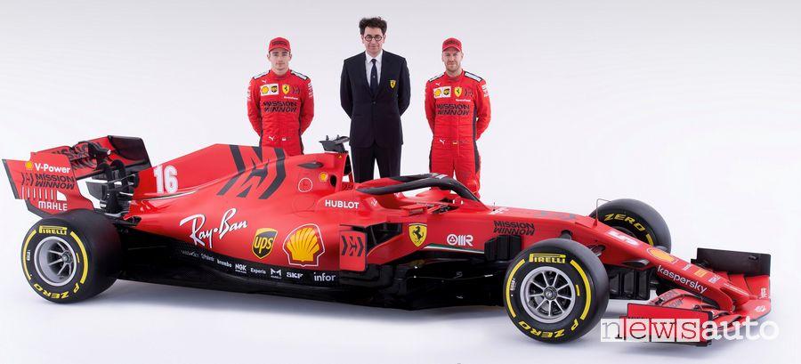 Mattia Binotto insieme ai piloti Ferrari F1 2020 Leclerc e Vettel