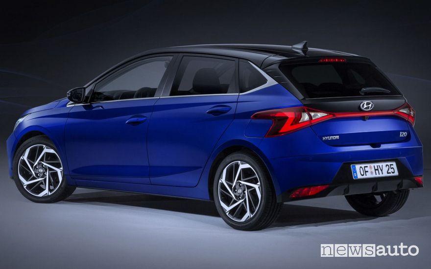 Vista posteriore Hyundai i20 2020
