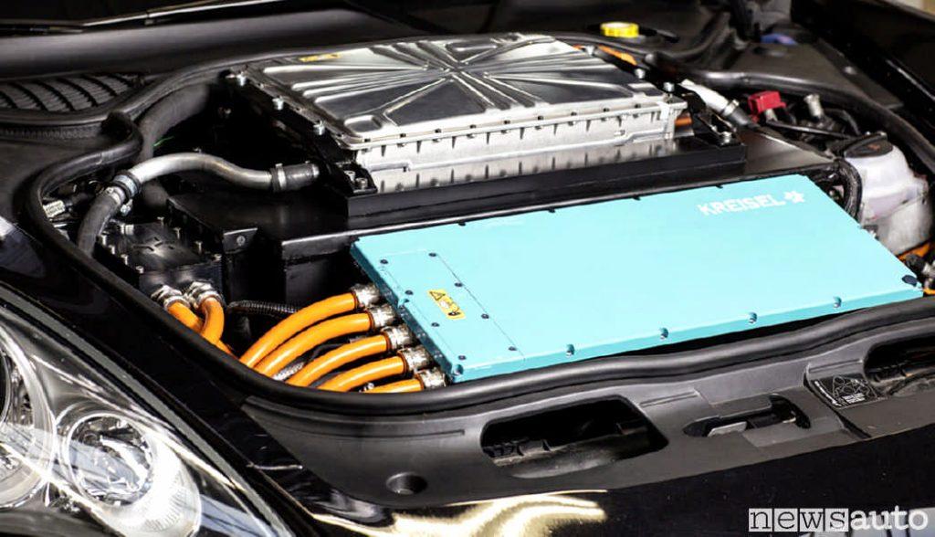 Il vano motore del Mercedes Classe G con il motore elettrico (EQG)