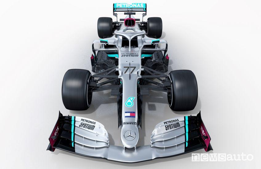 Vista anteriore Mercedes-AMG W11 F1 2020