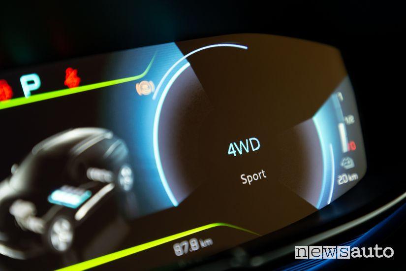 Schermata modalità di guida 4WD quadro strumenti Peugeot 3008 Hybrid4 Plug-In