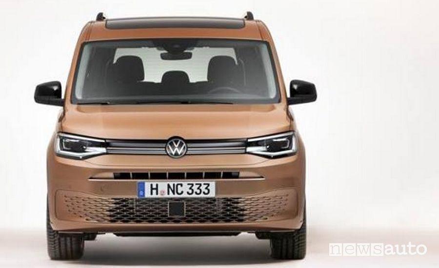 Il frontale del Volkswagen Caddy 2020, quello nuovo
