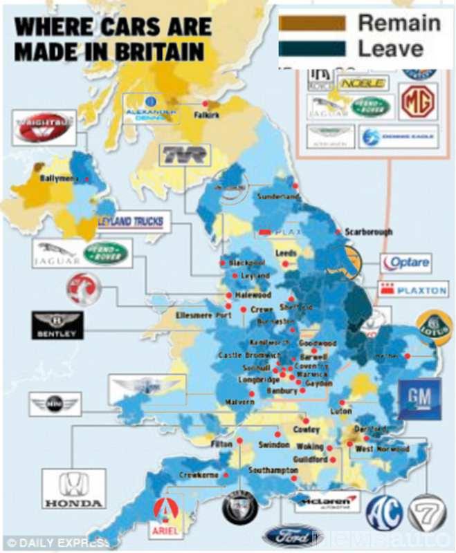 Mappa dei costruttori d'auto sul territorio inglese