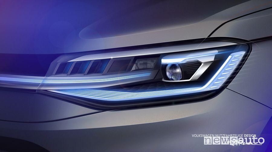 fari a led sul frontale del nuovo Volkswagen Caddy
