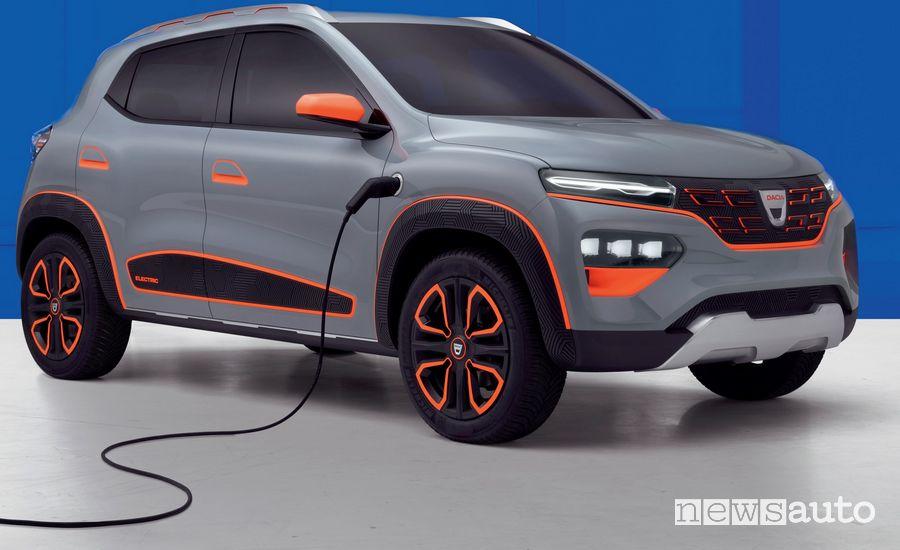 Dacia Spring show car elettrica in ricarica