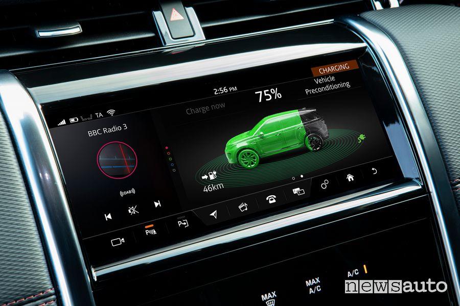 Schermata stato della carica Land Rover Discovery Sport ibrida plug-in