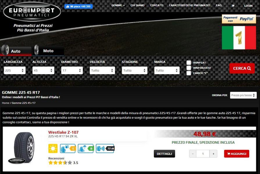 Home page Euroimport sito web specializzato nella vendita di gomme on line