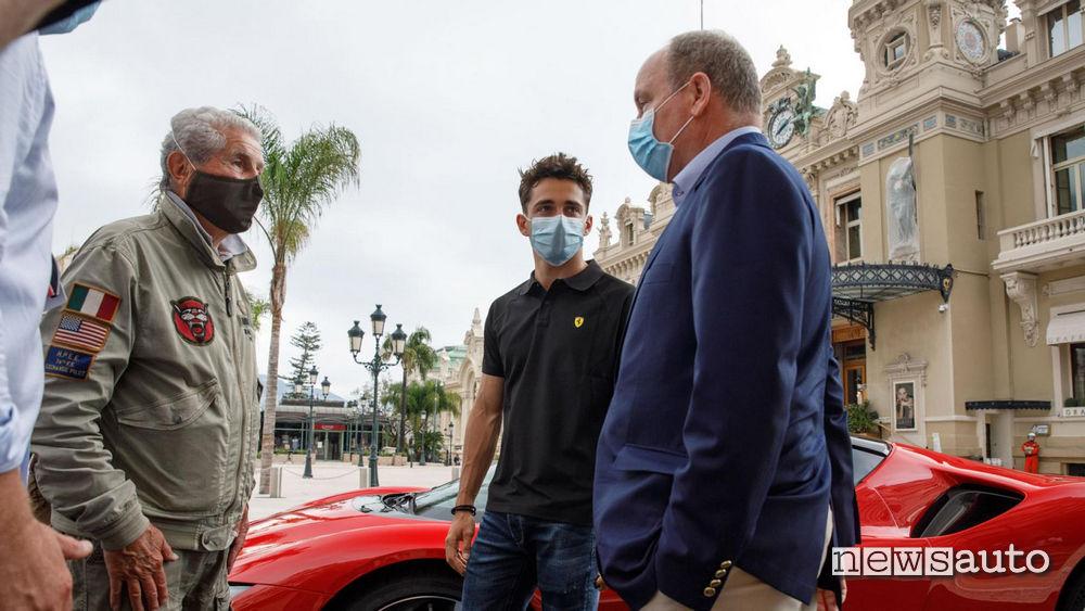 Leclerc a Montecarlo in compagnia del Principe Alberto di Monaco e il regista Claude Lelouch