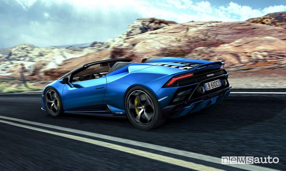 Vista posteriore Lamborghini Huracán EVO RWD Spyder