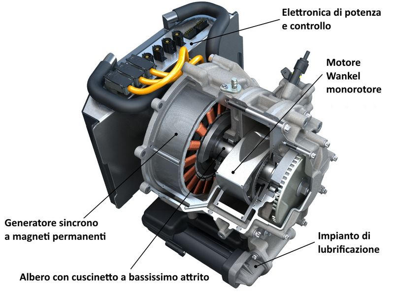 Motore rotativo Wankel usato come range extender