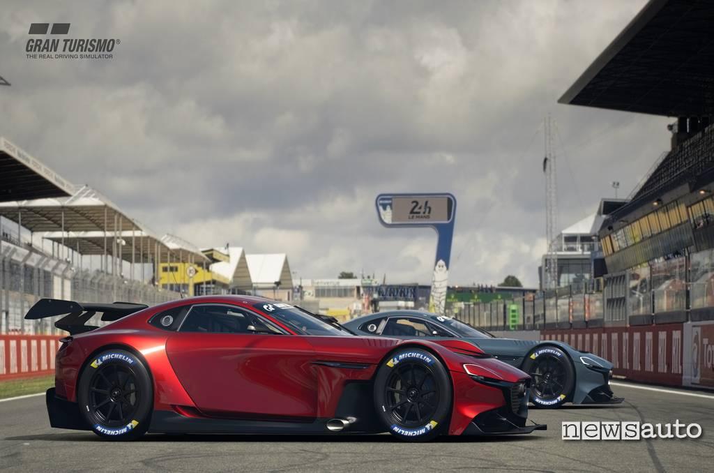 Mazda RX-Vision GT3 Concept Gran Turismo Sport su Playstation 4 circuto Le Mans Sarthe