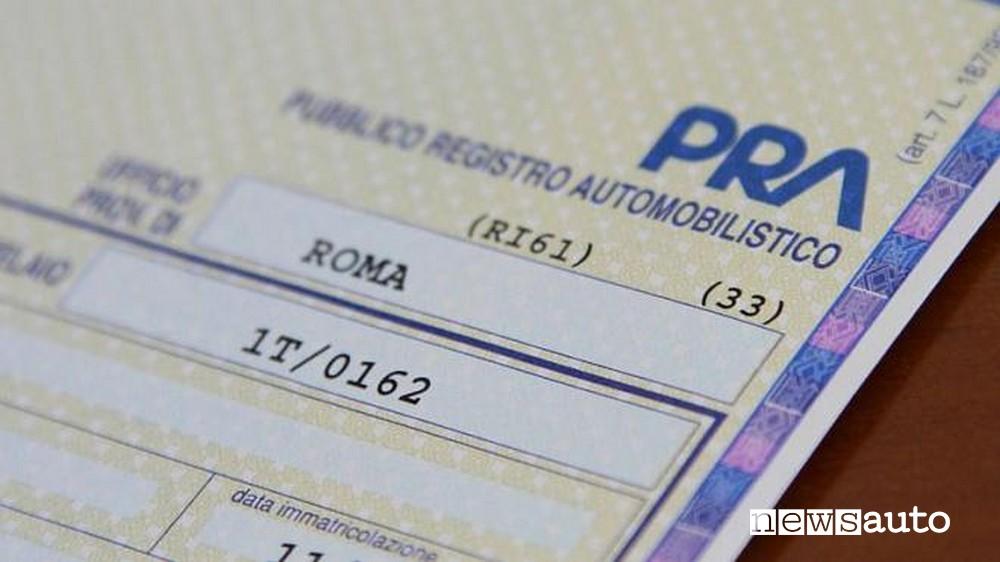 Logo del PRA pubblico registro automobilistico
