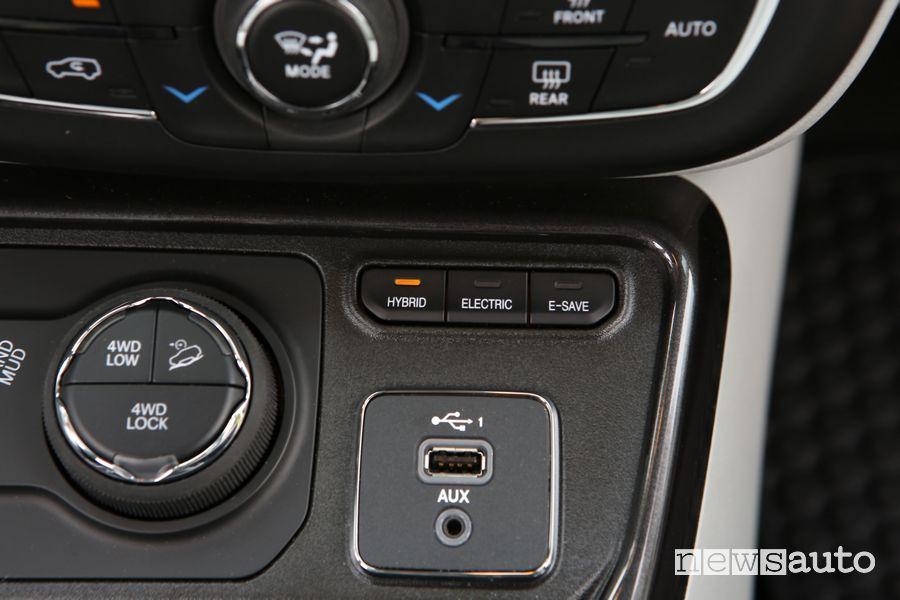 Modalità di guida abitacolo Jeep Compass 4xe Limited ibrida plug-in