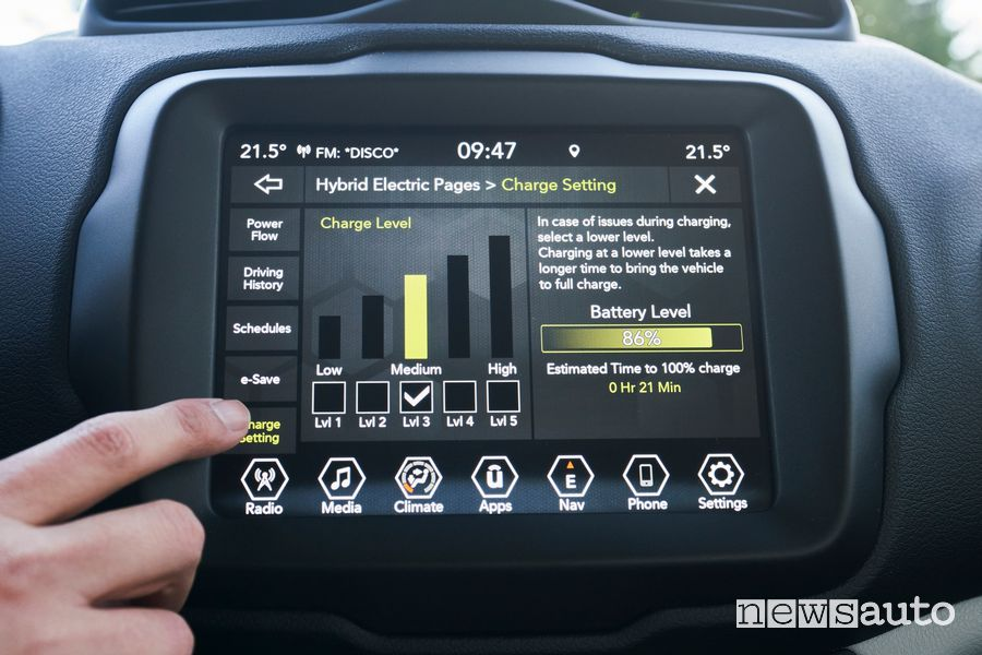 Schermata sistema ibrido infotainment Jeep Renegade 4xe Limited ibrida plug-in