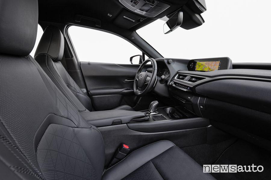 Sedili anteriori abitacolo Lexus UX 300e elettrica