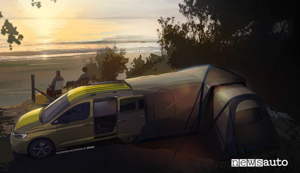 Volkswagen Caddy Mini-camper con tenda esterna montata