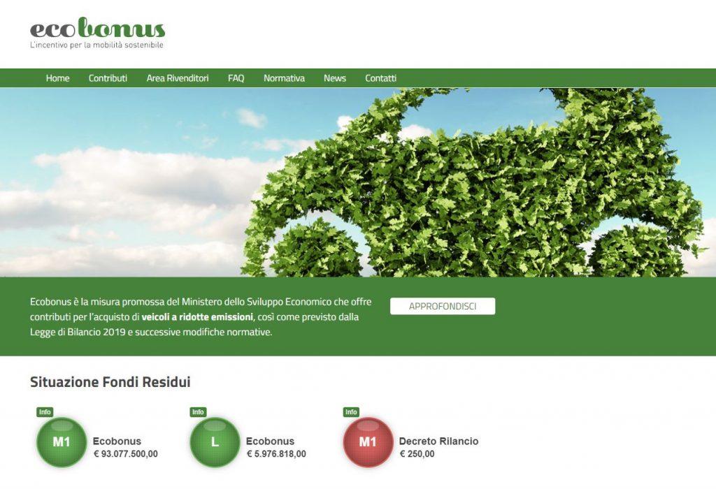 """""""Ecobonus"""" sito del Mise dove vengono gestiti gli incentivi per auto, scooter e bici"""