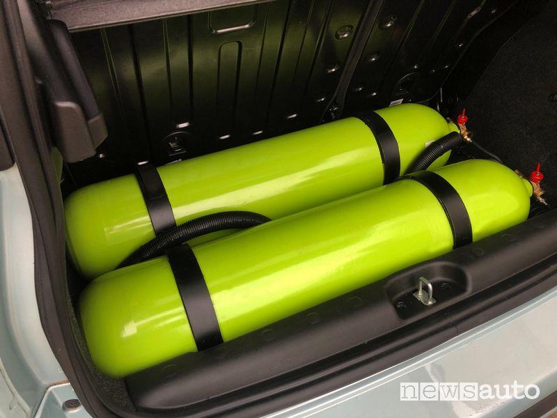 Bombole metano Fiat Panda Hybrid trasformata a metano