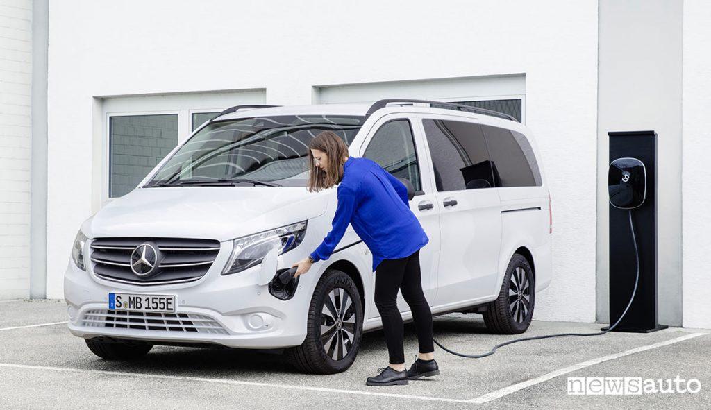 Mercedes-Benz eVito in carica da colonnina di ricarica domestica