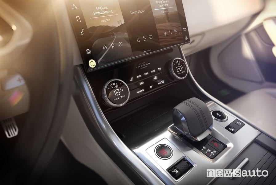 Leva cambio automatico, comandi consolle centrale abitacolo nuova Jaguar XF