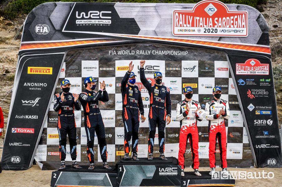 Podio finale del Rally d'Italia in Sardegna 2020