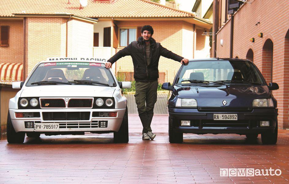 Davide Cironi fra la Lancia Delta Integrale e la Renault Clio Williams