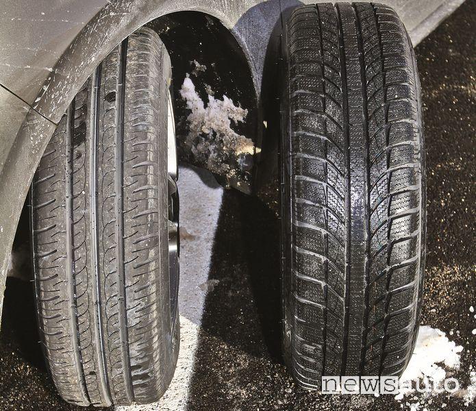 Test comparativo pneumatici estivi  contro pneumatici invernali