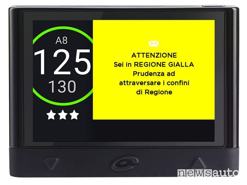 Allerta zona gialla in tempo reale sul navigatore COYOTE