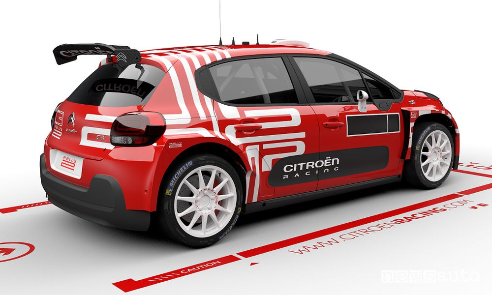 Vista posteriore Citroën C3 Rally2