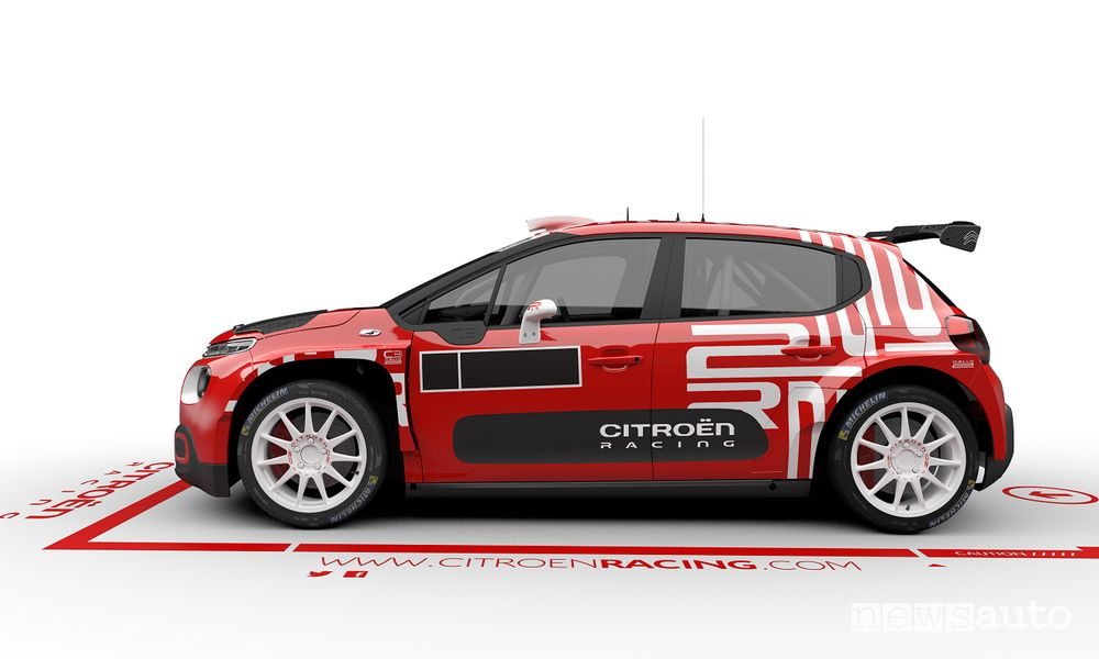 Vista laterale Citroën C3 Rally2
