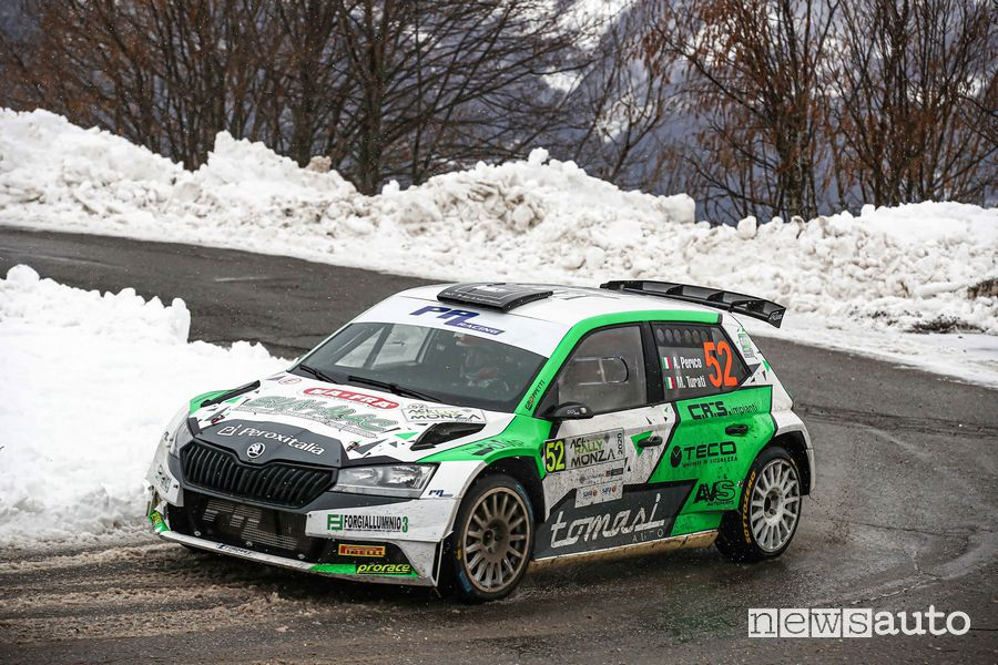 Allessando Perico su Škoda Fabia Rally2 evo, primo degli italiani al rally Monza 2020
