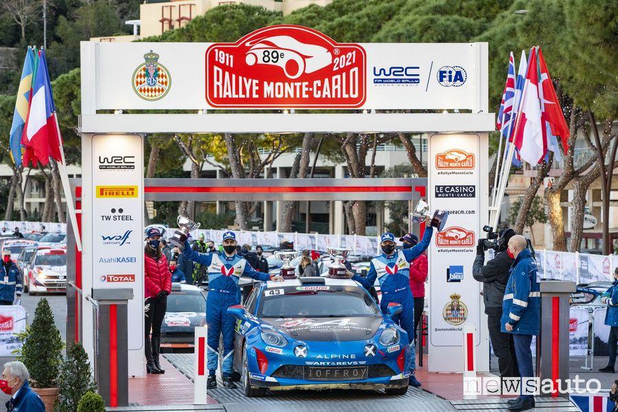 L'Alpine al Rally di Montecarlo 2021 ha vinto nelle categorie FIA R-GT e veicoli a due ruote motrici
