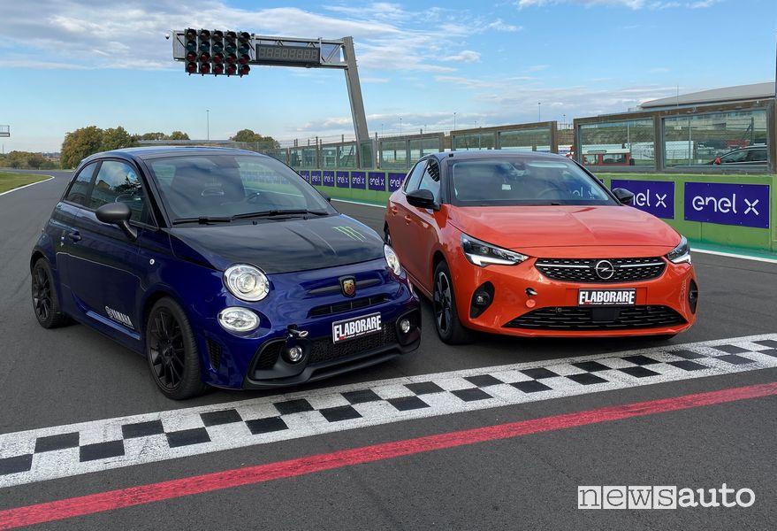 Abarth 595 Monster Energy Yamaha e Opel Corsa-e elettrica in pista a Vallelunga