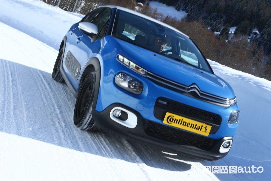 Citroën C3 nel test di accelerazione sulla neve