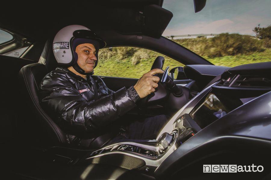 Pierluigi Mancini alla guida della Honda NSX in pista all'SAM di Anagni