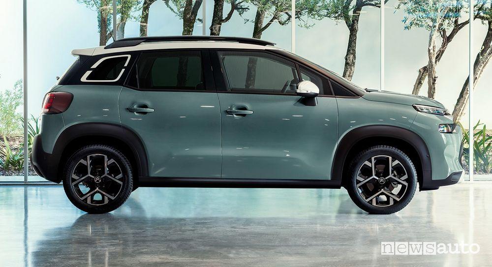 Vista laterale nuovo Citroën C3 Aircross