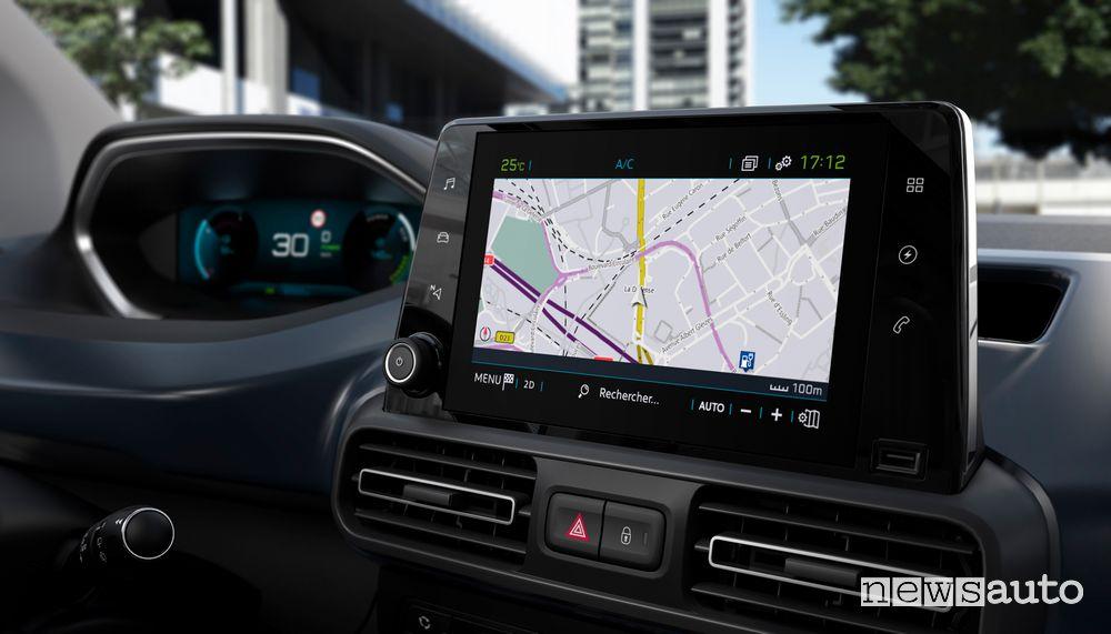 Navigatore touchscreen i-Cockpit Peugeot e-Rifter elettrico