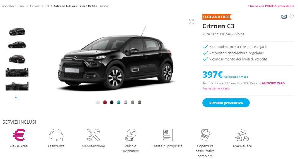 Citroën C3 con il noleggio a lungo termine