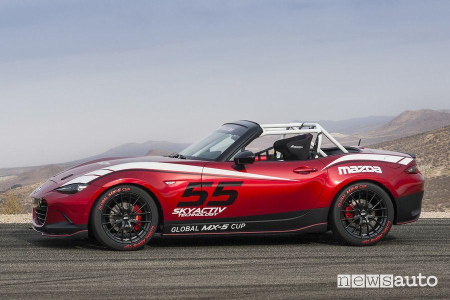 Mazda MX-5 Cup Series, ruote speciali, roll bar ed assetto ribassato