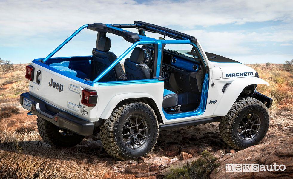 Vista posteriore Jeep Magneto BEV concept elettrico