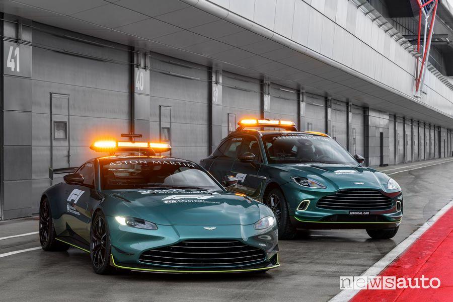 Aston Martin Vantage safety car e SUV DBX medical car F1