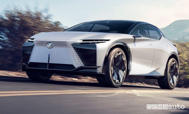 Vista di profilo Lexus concept LF-Z Electrified in movimento