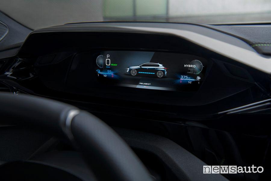 Quadro strumenti i-Cockpit nuova Peugeot 308 ibrida plug-in PHEV