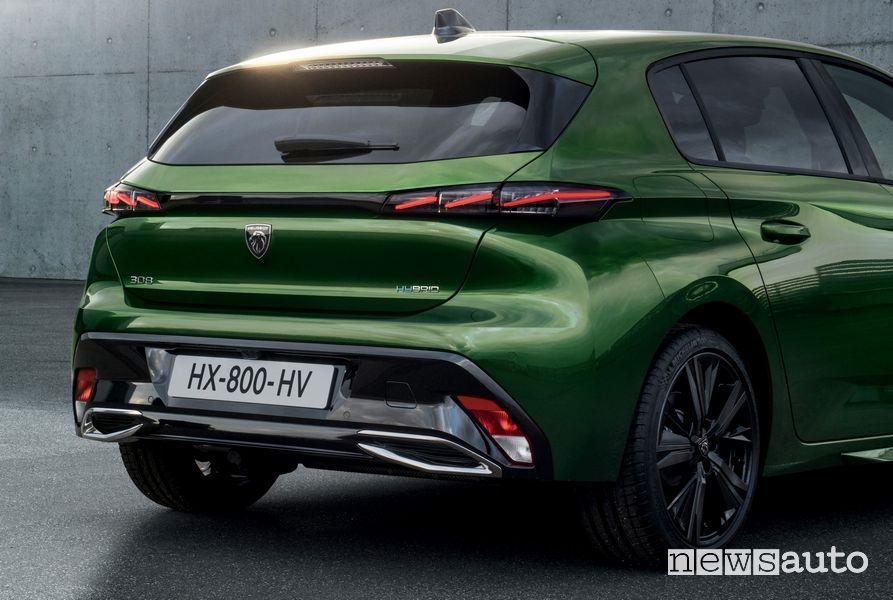 Il posteriore della nuova 308, paraurti, portellone e parafanghi con nuovo disegno!