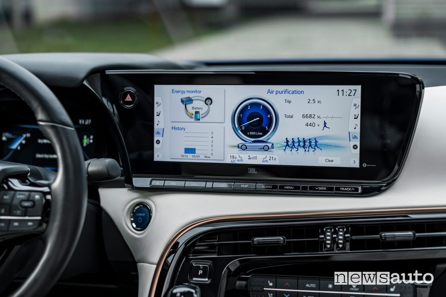 Info Air purification touchscreen abitacolo nuova Toyota Mirai ad idrogeno