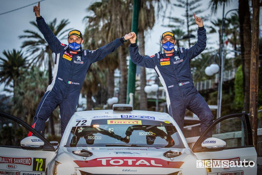 Andrea e Giuseppe Nucita festeggiano la vittoria nel Rally di Sanremo 2021