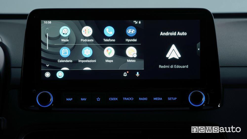 "Android Auto display touchscreen da 10.25"" nuova Hyundai Kona"