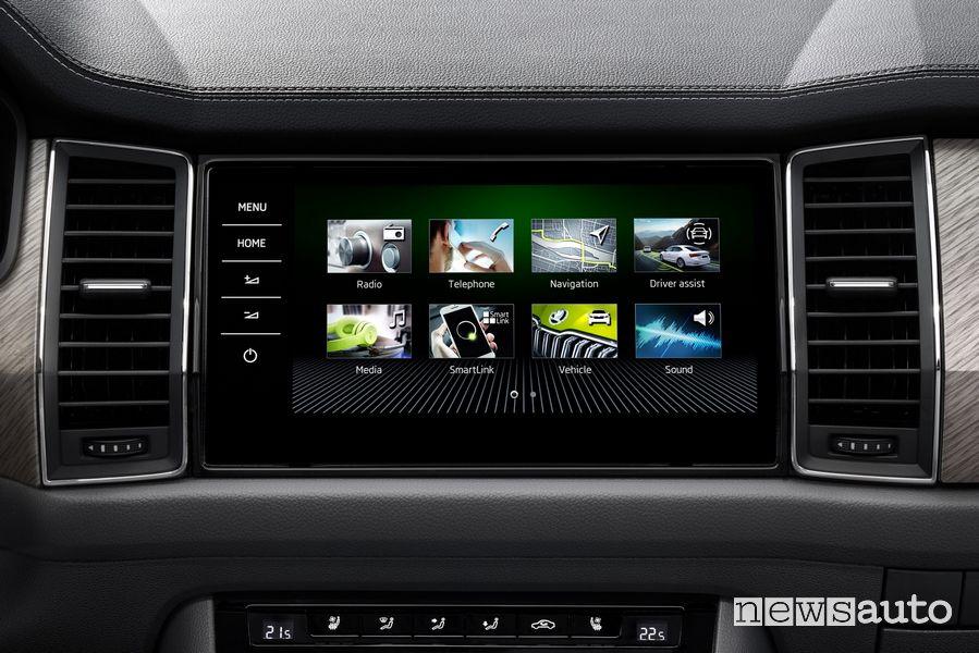 Touchscreen infotainment abitacolo nuova Skoda Kodiaq