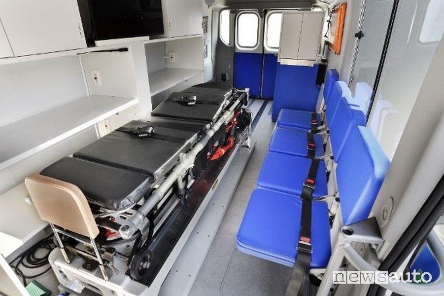 Interno dell'ambulanza ad idrogeno che può fornire all'esterno corrente alternata o continua