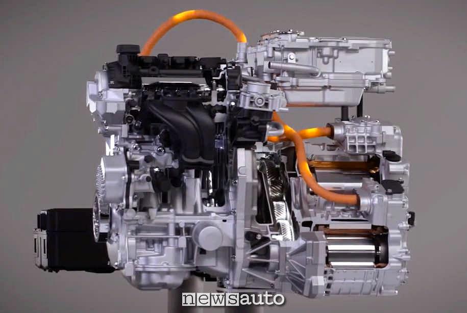 Altra vista del sistema spaccato e-Power di Nissan dove si vede una biella ed il rotore del motore elettrico, con l'inverter